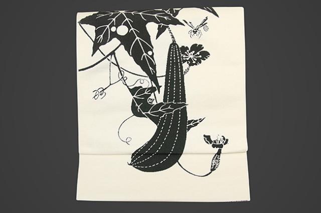 【受注生産品】西陣織 りんどう屋 九寸名古屋帯 玄圃瑤華 お仕立て付き 糸瓜 ハチ 白