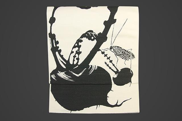 【受注生産品】西陣織 りんどう屋 九寸名古屋帯 玄圃瑤華 お仕立て付き 蕪 キリギリス 白