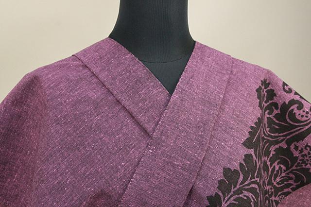 Rumi Rock(ルミロック) 木綿着物 オーダー仕立て付き ライオン更紗 灰紫