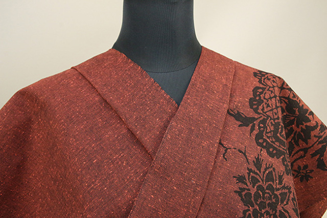 Rumi Rock(ルミロック) 木綿着物 オーダー仕立て付き ヒョウ更紗 赤茶