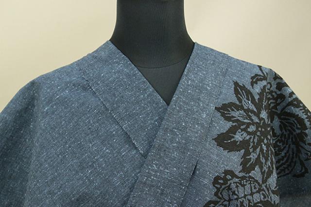 Rumi Rock(ルミロック) 木綿着物 オーダー仕立て付き ヒョウ更紗 青灰
