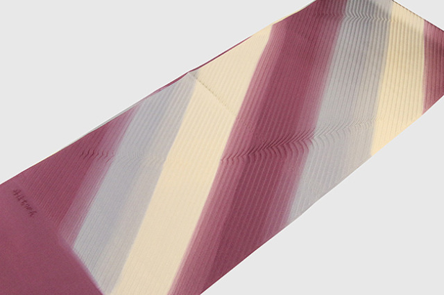 和小物さくら 帯揚げ 斜めストライプ 紫×灰×ベージュ