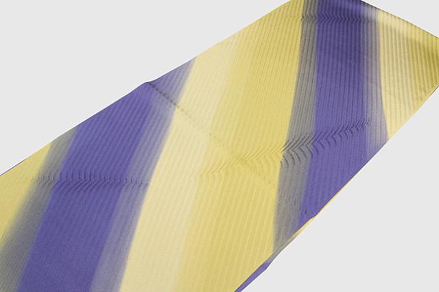 和小物さくら 帯揚げ 斜めストライプ 青紫×黄
