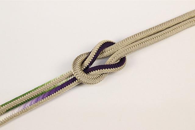 和小物さくら 帯締め 正絹洋角組 黄土×紫×緑