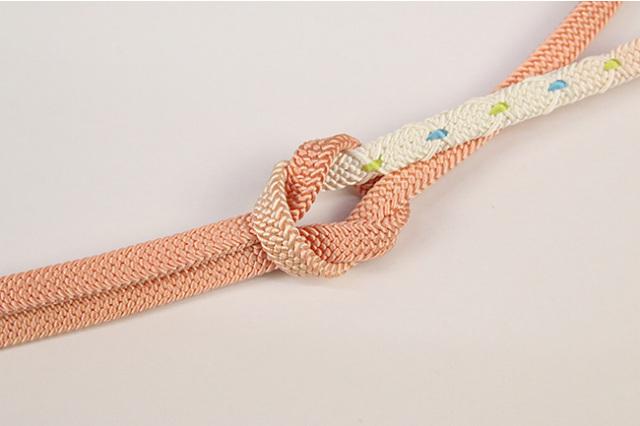 和小物さくら 帯締め 正絹 平組 橙×白