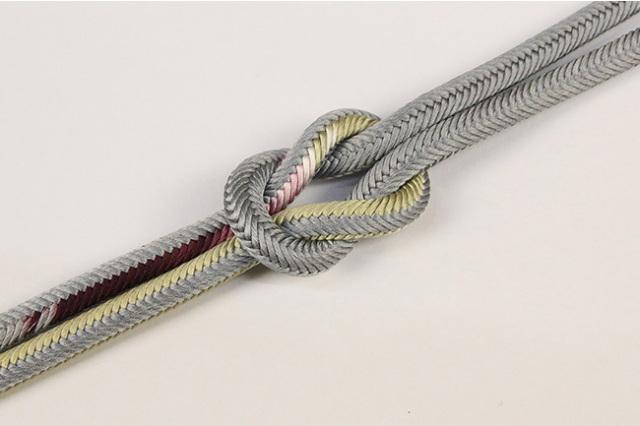 和小物さくら 帯締め 正絹洋角組 02灰×黄土×赤紫