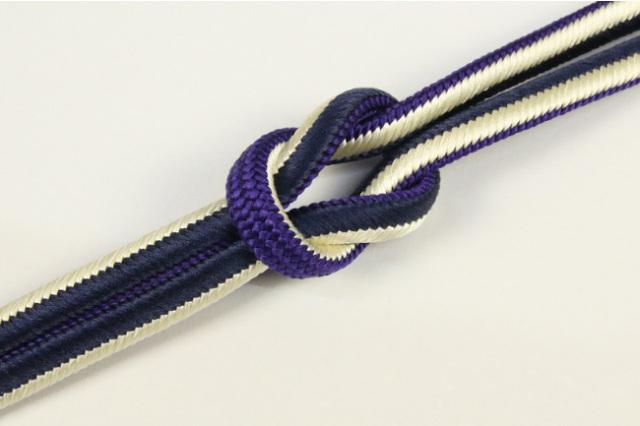 和小物さくら 帯締め 正絹 両面リバーシブル 06紫×薄黄×藍