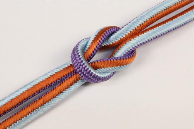 和小物さくら 帯締め 正絹 両面リバーシブル 15紫×橙×水色