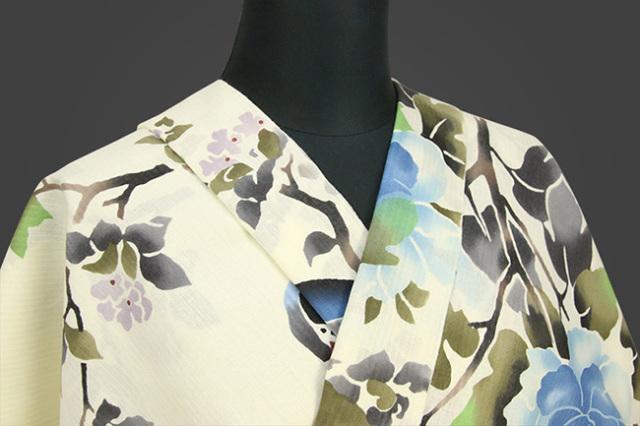 三勝 浴衣(ゆかた) オーダー仕立て付き 花鳥図 薄黄 ◆女性にオススメ◆