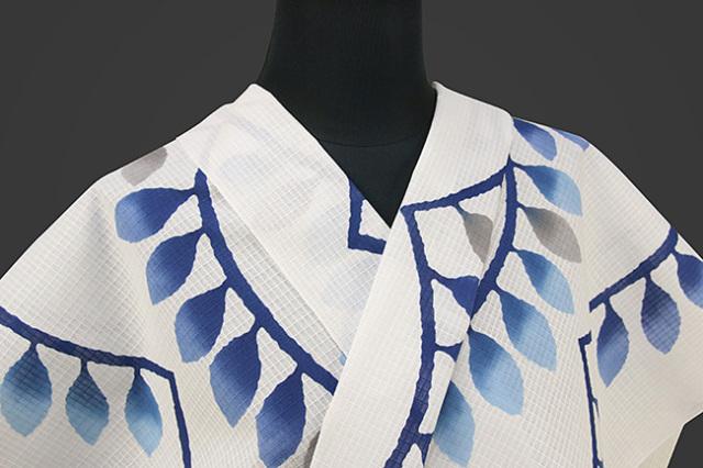 三勝 紅梅織 注染浴衣(ゆかた)  オーダー仕立て付き 葉 白×青