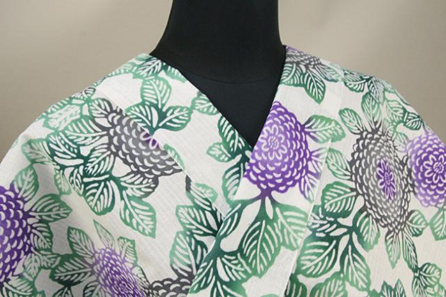三勝 注染浴衣(ゆかた)  オーダー仕立て付き 菊づくし 白×緑