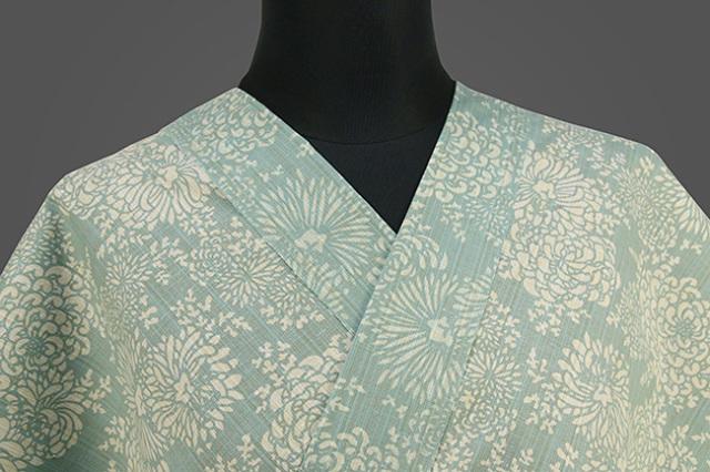 三勝 注染浴衣(ゆかた)  オーダー仕立て付き 菊づくし 青緑