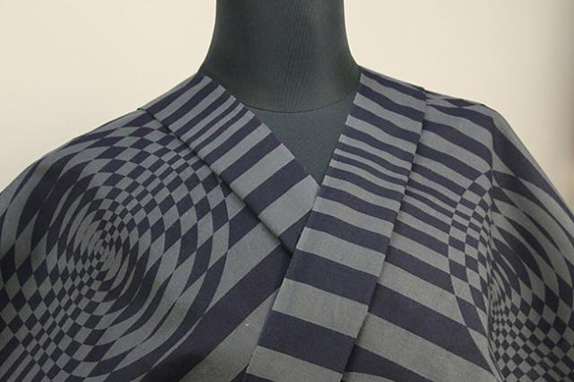 三勝 浴衣(ゆかた)オーダー仕立て付き 幾何学 瓢箪 裏表柄 黒灰