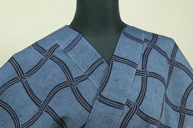 三勝 注染浴衣(ゆかた)  オーダー仕立て付き 網目 藍色 ◆女性におすすめ◆