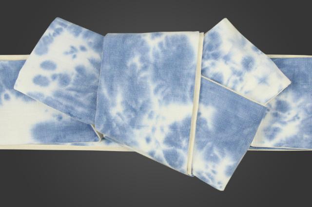 三勝 角帯 籠染 青×白