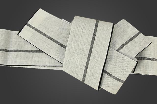 三勝 麻 角帯 ライン 黒×白