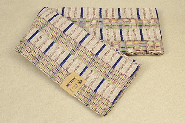 紬さがの 半幅帯 綿 ボーダー ベージュ×青