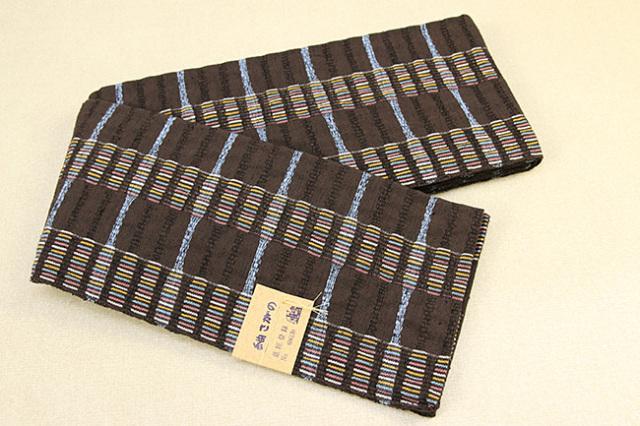 米沢織 紬さがの 半幅帯 綿 ボーダー 茶×青