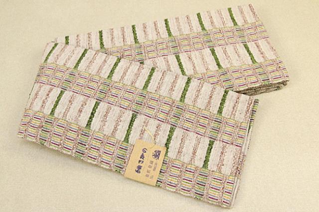米沢織 紬さがの 半幅帯 綿 ボーダー ベージュ×黄緑