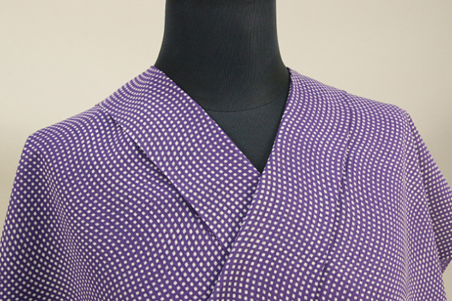 夏着物・浴衣(ゆかた) 超長綿 オーダー仕立て付き ドット 波 紫 ◆男女兼用◆