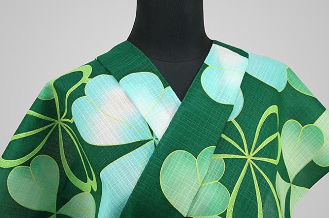 itomi浴衣(ゆかた) オーダー仕立て付き クローバー 緑 ◆女性にオススメ◆