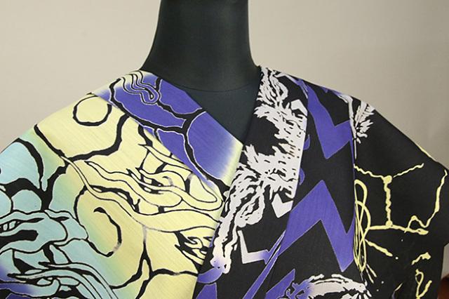 Rumi Rock(ルミロック)浴衣(ゆかた) 綿麻 オーダー仕立て付き プロメテウス 黒×青黄グレー