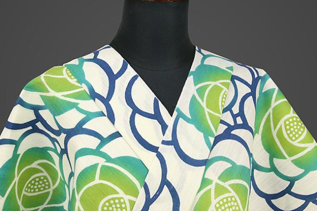 浜松注染浴衣(ゆかた) オーダー仕立て付き 注染 花柄 白×緑