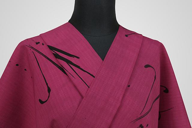 JUNKO KOSHINO浴衣(ゆかた) オーダー仕立て付き セオα 筆痕 飛沫 黒×ピンク