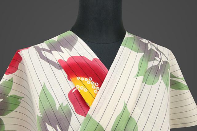 itomi浴衣(ゆかた) 綿麻 東京都伝統工芸品 オーダー仕立て付き 寒椿 赤