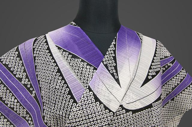 JUNKO KOSHINO浴衣(ゆかた) 綿絽 オーダー仕立て付き 絞り調 紫 祥131 ◆女性にオススメ◆