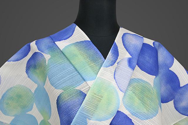 IKS浴衣(ゆかた) オーダー仕立て付き カラフルモダン919 白×青×黄 女性にオススメ