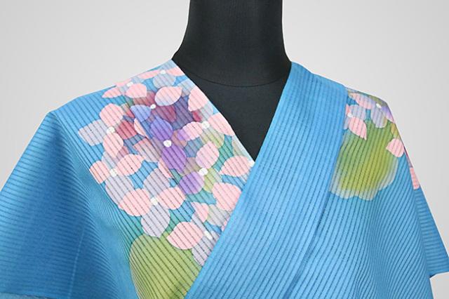 知多木綿 浴衣(ゆかた) ろうけつ染め オーダー仕立て付き 紫陽花 青 ◆女性におすすめ◆