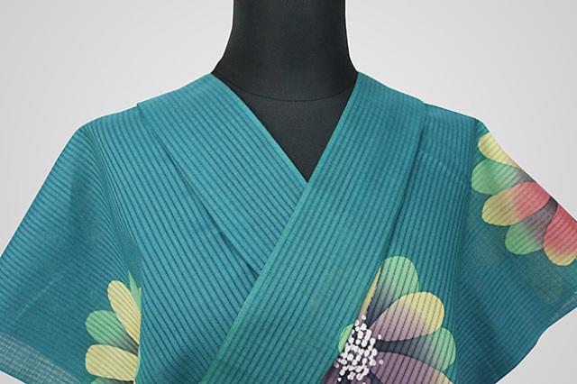 知多木綿 浴衣(ゆかた) ろうけつ染め オーダー仕立て付き 花柄 青緑 ◆女性におすすめ◆