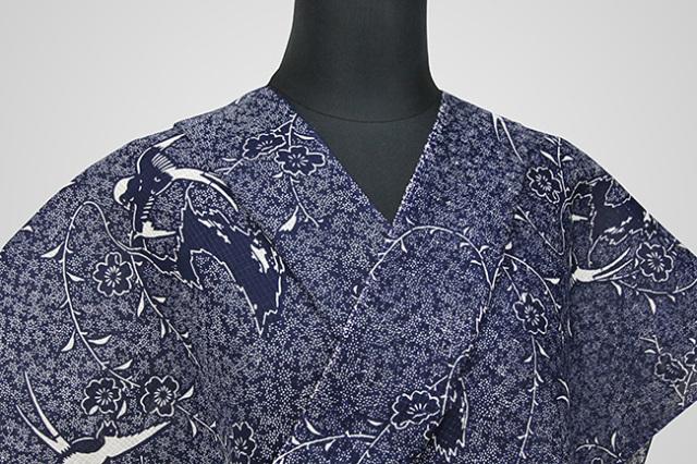 江戸ゆかた 伝統的手工芸品 オーダー仕立て付き 紺 燕