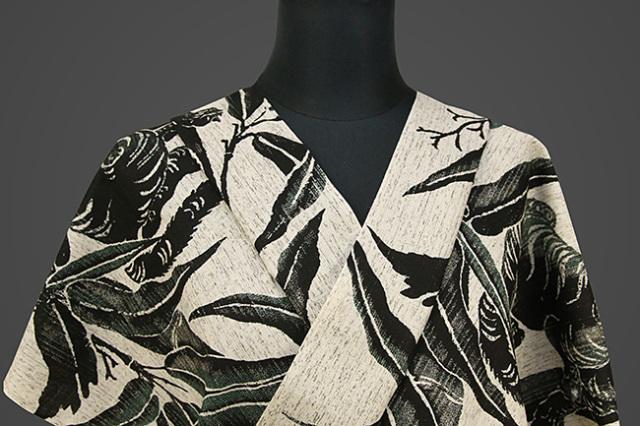 誉田屋源兵衛 綿麻浴衣(ゆかた) オーダー仕立て付き 竹に虎 灰×黒 ◆男女兼用◆