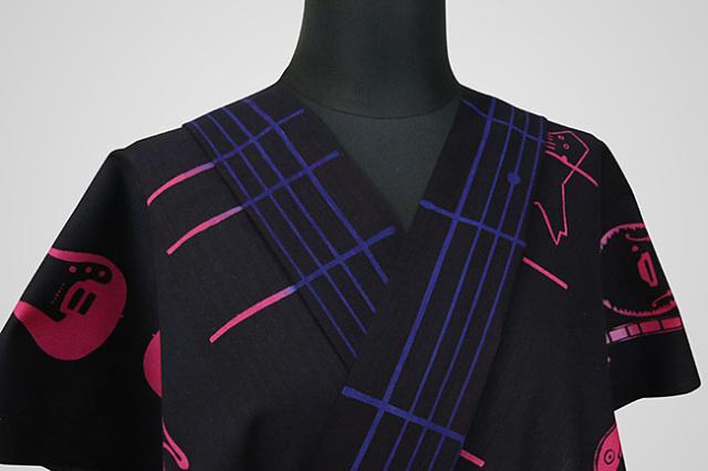 Rumi Rock(ルミロック)浴衣(ゆかた) オーダー仕立て付き エレキギター 黒×ピンク