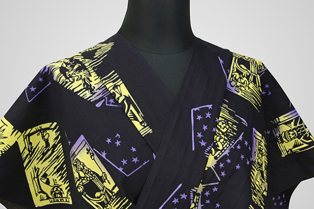 Rumi Rock(ルミロック)浴衣(ゆかた) オーダー仕立て付き タロット 黒×紫黄