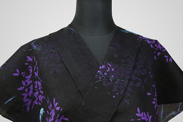 Kimono Factory nono 浴衣(ゆかた) 綿麻 オーダー仕立て付き 浴衣 ルリカケス 黒 ◆男女兼用◆