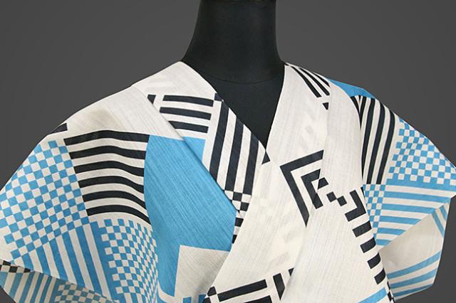 菱屋カレンブロッソ 浴衣(ゆかた) オーダー仕立て付き 幾何学 白×水色 ◆男女兼用◆