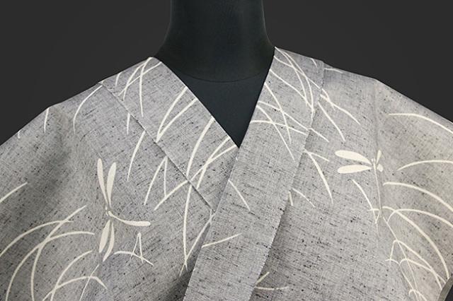 源氏物語 浴衣(ゆかた) オーダー仕立て付き 蜻蛉 灰 ◆女性にオススメ◆