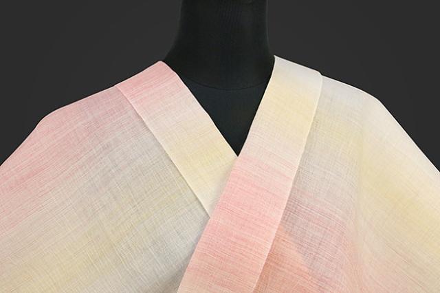 源氏物語 本麻  オーダー仕立て付き 縞 白×ピンク×黄 ◆女性にオススメ◆