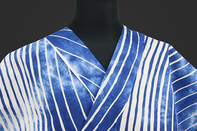 源氏物語 浴衣(ゆかた) オーダー仕立て付き 波ストライプ 青 ◆女性にオススメ◆