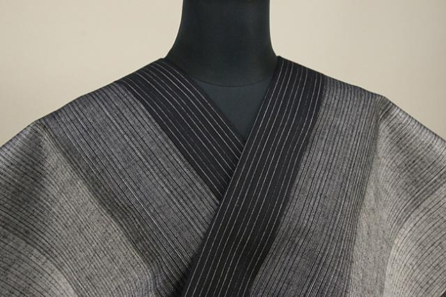 源氏物語 浴衣(ゆかた) オーダー仕立て付き ストライプ 黒灰 ◆男女兼用◆