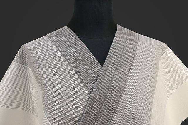 源氏物語 浴衣(ゆかた) オーダー仕立て付き ストライプ 白灰 ◆男女兼用◆