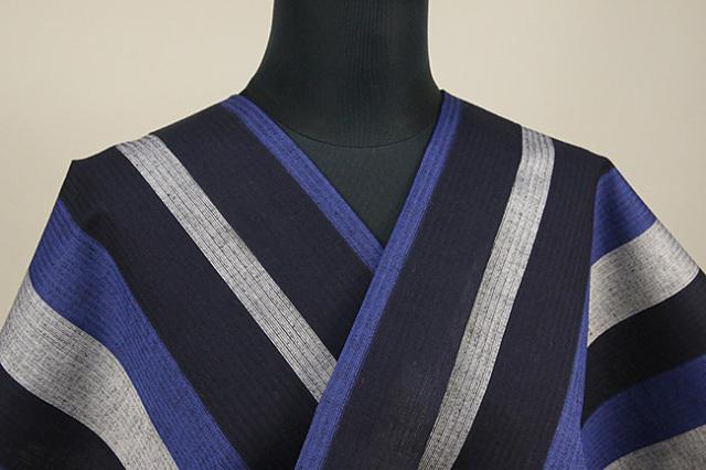 源氏物語 浴衣(ゆかた) オーダー仕立て付き ストライプ 青×黒×灰 ◆男女兼用◆