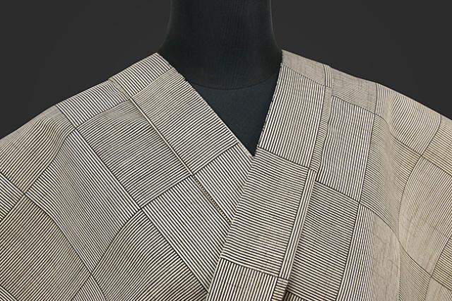 源氏物語 浴衣(ゆかた) オーダー仕立て付き 網代格子 灰 ◆男女兼用◆