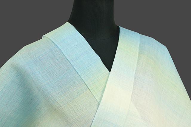 源氏物語 本麻 オーダー仕立て付き 縞 白×水色×黄 ◆男女兼用◆