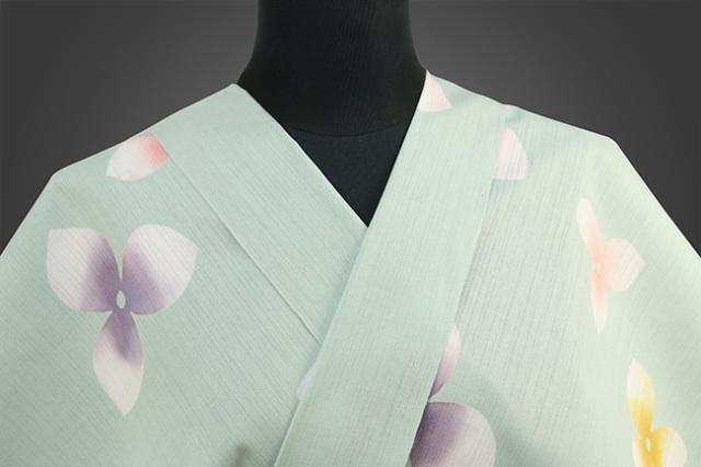 浜松注染 浴衣 青緑 花柄 オーダー仕立て付き