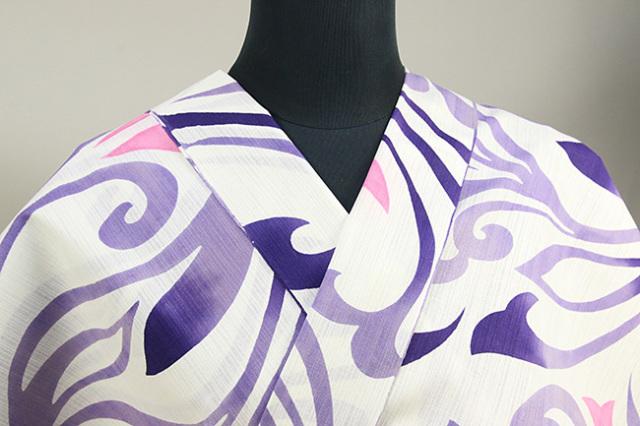 浜松注染 浴衣 紫 草花 オーダー仕立て付き