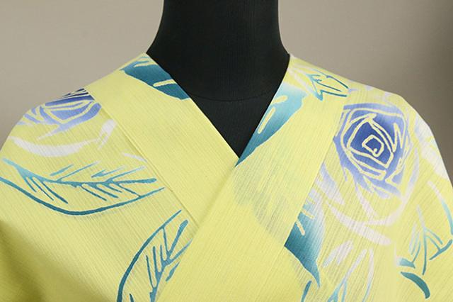 浜松注染 浴衣 黄 バラ オーダー仕立て付き